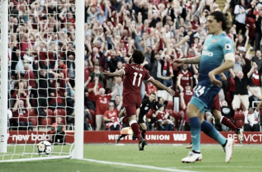 Salah esulta per il gol del 3-0 sull'Arsenal. Fonte: https://twitter.com/lfc