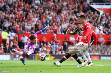 MANCHESTER, ENGLAND - SEPTEMBER 11: Cristiano Ronaldo of Manchester United scores their side's first goal during the Premier League match between Manchester United and Newcastle United at Old Trafford on September 11, 2021 in Manchester, England. (Photo by Laurence Griffiths/Getty Images)
