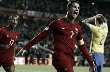 Ronaldo põe Portugal em vantagem no playoff.