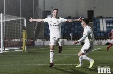 Cristo celebra un gol con el Castilla en el Alfredo Di Stéfano/ Foto: VAVEL