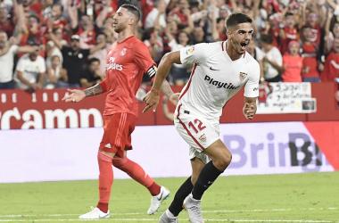 André Silva celebra uno de los goles que realizó en el encuentro/sevillafc.es