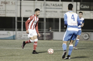 Cristian Herrera, autor de un doblete, en una acción del partido frente al Prat.   Foto: Girona FC.