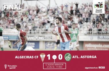 José Mari celebra el único gol del partido.   Foto: Algeciras CF..