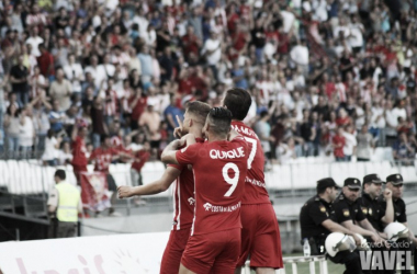 Jorge Morcillo celebra el gol anotado ante el Reus. (FOTO: David García - VAVEL)