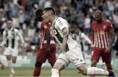 Sergi Guardiola en la celebración del gol. Fuente LaLiga 1|2|3