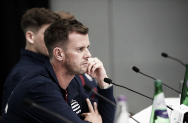 Smith talks to the media on the eve of his side's clash with Uzbekistan (Image source: Clive Brunskill/Getty Images Europe)