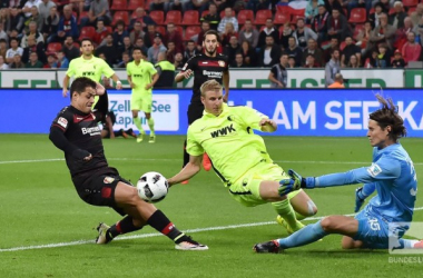Javier Hernandez had a couple of decent first half chances, but found Marvin Hitz in his way on both occasions. (Photo: Bundesliga)