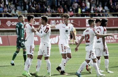 Jugadores de la Cultural Leonesa celebrando un gol | Fotografía: Cultural y Deportiva Leonesa
