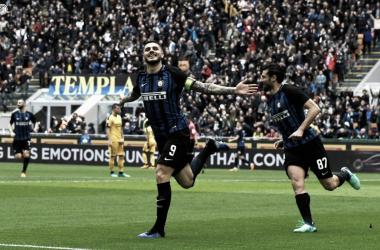 Icardi comemora um de seus dois gols (Foto: Divulgação/FC Internazionale)