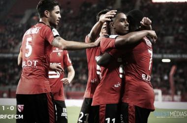 Rennes players celebrate winning goal | Ouest Medias