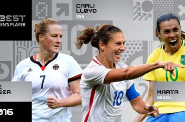 Marta, Lloyd e Behringer: as finalistas ao prêmio de melhor jogadora do mundo