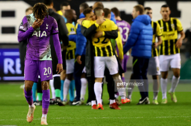 RNHEM, NETHERLANDS - OCTOBER 21: Dele Alli of Tottenham Hotspur reacts after the UEFA Europa Conference League group G match between Vitesse and Tottenham Hotspur at Gelredome on October 21, 2021 in Arnhem, Netherlands. (Photo by Martin Rose/Getty Images)
