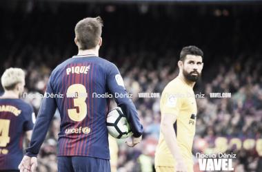 Diego Costa y Gerard Piqué en el último partido disputado en el Camp Nou | Foto de Noelia Déniz, VAVEL