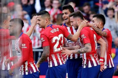 Los jugadores del Atleti celebrando el solitario gol de Saúl. Fuente: @VitoloMachín