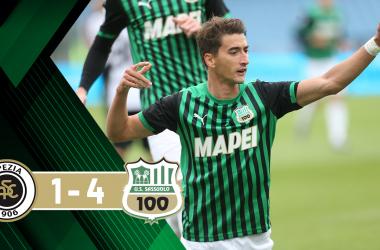 Serie A- Il Sassuolo illumina nel segno di Djuricic e Caputo, Spezia rimandato (1-4)