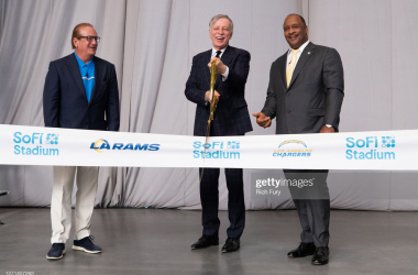 <div>SoFi Stadium Ribbon-Cutting Event</div><div><br></div><div>INGLEWOOD, CALIFORNIA - SEPTEMBER 08: (L-R) Los Angeles Chargers Owner and Chairman Dean Spanos, Los Angeles Rams Owner and Chairman Stan Kroenke and Inglewood Mayor James T. Butts Jr. attend the SoFi Stadium ribbon-cutting event on September 08, 2020 in Inglewood, California. (Photo by Rich Fury/Getty Images for Hollywood Park Management Company)</div>