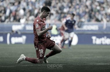 Carlos Fernández regresó a los terrenos de juego en el Carlos Tartiere // RCDeportivo