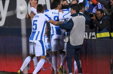 Los jugadores del Leganés celebrando el gol de Carrillo | Foto: CD Leganés