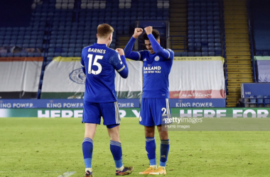 LEICESTER, ENGLAND - JANUARY 16:Harvey Barnes of Leicester City celebrates after making it 2-0 during the Premier League match between Leicester City and Southampton at The King Power Stadium on January 16, 2021 in Leicester, United Kingdom. Sporting stadiums around England remain under strict restrictions due to the Coronavirus Pandemic as Government social distancing laws prohibit fans inside venues resulting in games being played behind closed doors. (Photo by Plumb Images/Leicester City FC via Getty Images)