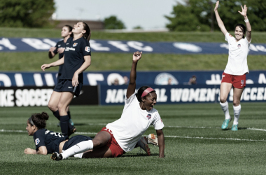 Cheyna Matthews (center) scored twice in the 3-2 win over Sky Blue FC on  Saturday. | Photo: isiphotos.com