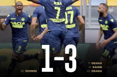 Serie A - Udinese in scioltezza a Frosinone, ma la lotta salvezza resta aperta (1-3)