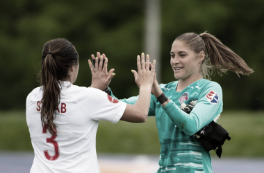 Aubrey Bledsoe (right) has been one of the best keepers in the league this season. | @WashSpirit