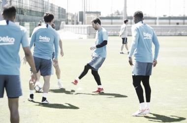 Entrenamiento del FC Barcelona. FOTO: FC Barcelona Twitter