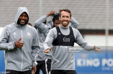 Wes Morgan of Leicester City and Christian Fuchs of Leicester City during the Leicester City training session at Belvoir Drive Training Complex on June 18th, 2020 in Leicester, United Kingdom. (Photo by Plumb Images/Leicester City FC via Getty Images)