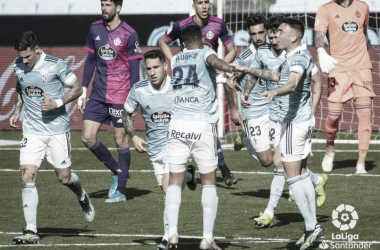 Los jugadores del Celta celebrando el gol de Murillo. | Foto: La Liga.