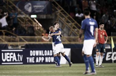 Federico Chiesa celebra su gran partido contra España. Foto: UEFA
