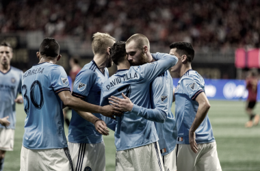 NYCFC celebrating David Villa's goal. | Photo: New York City FC