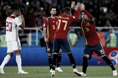 Espanha definiu a vaga às oitavas nos últimos instantes de partida com um gol de Aspas (Foto: Divulgação/RFEF)