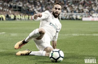 Carvajal durante un partido con el Real Madrid/ Foto: Daniel Nieto - Vavel