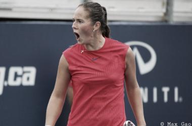 Daria Kasatkina celebrates her win | Photo: Max Gao / VAVEL USA Tennis