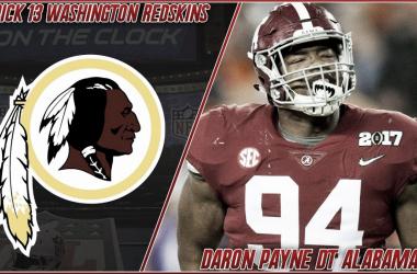 Daron Payne, primera seleccion de los Redskins de Washington (foto redskins.com)