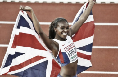 Dina Asher-Smith celebrates victory in the 200 meters in Amsterdam (image via: telegraph.co.uk)