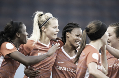 Rachel Daly scored two goal in a 3-2 win at BBVA Compass Stadium in Houston, TX on May 27, 2018 | Photo: NWSLsoccer.com