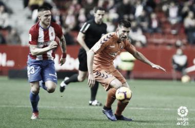 David García en el encuentro frente al Sporting. Foto: LaLiga 1|2|3