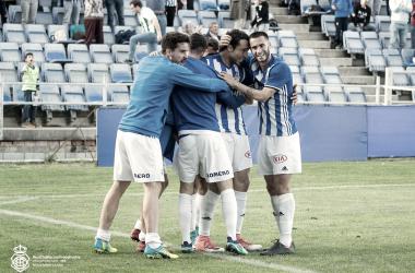 Jugadores celebrando un gol de esta temporada. Foto: Recreativo de Huelva