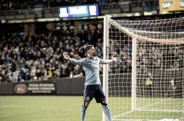 David Villa celebrating his second goal of the night. | Photo: New York City FC