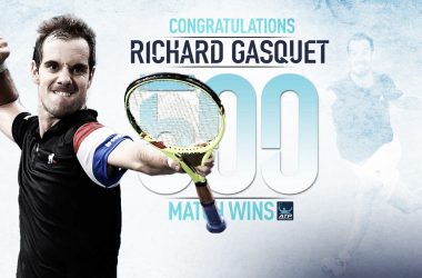 Richard Gasquet congratulated as he became the first Frenchman to win 500 career matches (Photo: @ATPWorldTour)