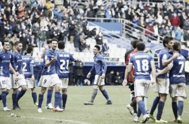 David Costas, sonriente en su debut tras haber marcado el gol de la victoria | Foto: Real Oviedo