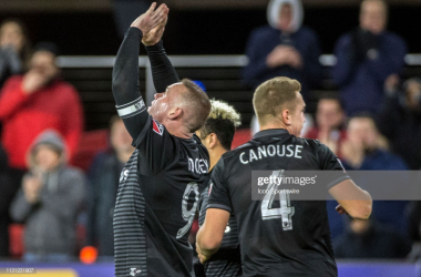 Wayne Rooney celebrates scoring against RSL: (Getty Images - Icon Sportswire)
