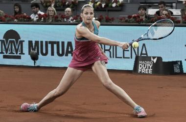 Pliskova en su partido de hoy ante Kvitova. Foto: @MutuaMadridOpen
