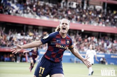Alexia Putellas celebrando su primer gol en el Estadi Johan Cruyff | Foto de Noelia Déniz, VAVEL