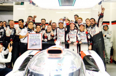 Toyota celebrate a well earned pole. | Photo: Twitter/FIA WEC