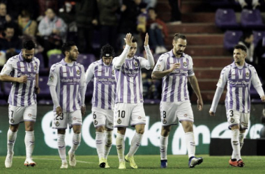 El equipo tras el gol de Óscar Plano // Foto: La Liga