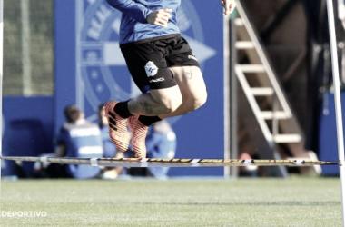 Jugador del primer equipo en un entrenamiento físico | Foto: RCDeportivo