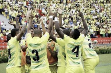 Bucaramanga salvó un punto en la recta final del partido - Foto: César Flórez / Vanguardia Liberal