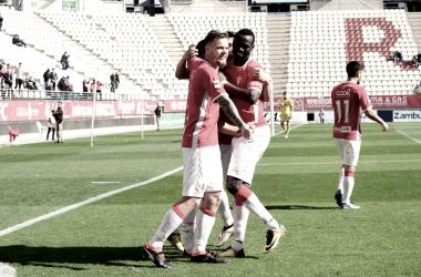 Celebración de unos de los goles de la temporada pasada. Foto: Real Murcia